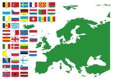 Europa flaggor Arkivbilder