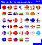 Europa flaggor Stock Illustrationer