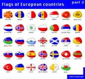 Europa flaggor Royaltyfri Illustrationer