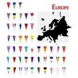Europa flaggor Arkivbild