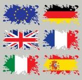 Europa flaggor inställd färgstänk stock illustrationer