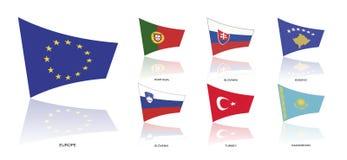 Europa flaggor, vektor Royaltyfri Bild