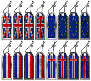 Europa Flags Set of Grunge Metal Tags Royalty Free Stock Images