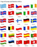 Europa flags wavy stil vektor illustrationer