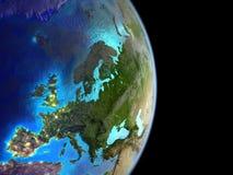 Europa från utrymme på jord royaltyfri bild