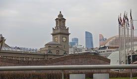 Europa fyrkant, byggnaden av den Kiev stationen i Moskva fotografering för bildbyråer