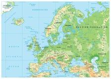 Europa fysisk översikt Ingen bathymetry stock illustrationer