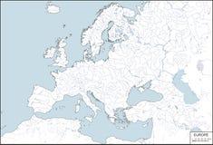 Europa - geef de contouren aan van kaart met rivieren en meren stock illustratie