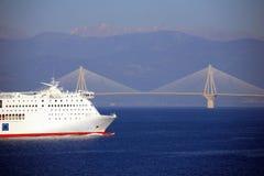 Europa, Grecja, Rion Antirion most Zdjęcia Stock