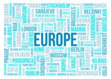 Europa, Hauptstädte der Länder und anderer Stadtwörter bewölken Hintergrund Stockbild