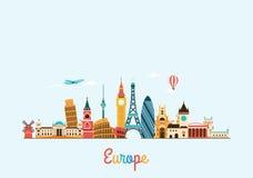 Europa horisont Lopp- och turismbakgrund Arkivfoton