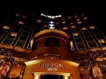Europa Hotel at Night. Europa hotel in Belfast Northern Ireland. It is known as the `most bombed hotel in the world` after having suffered 36 bomb attacks stock photo