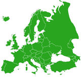 Europa karta z granicami, zieleń Obraz Stock