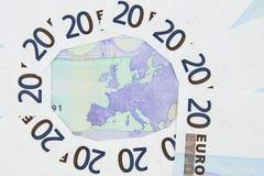 Europa-Karte mit Euro Stockfotografie