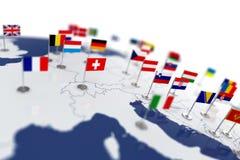Europa-Karte mit Landflaggen stock abbildung