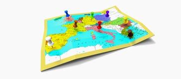 Europa-Karte mit Stiften Stockfoto