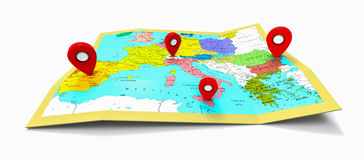 Europa-Karte mit Stiften Stockfotos