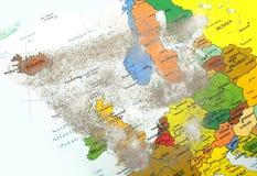 Europa-Karte mit Vulkanstaub Lizenzfreies Stockfoto