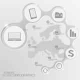 Europa-Karte und Elemente Infographic Vektor Lizenzfreies Stockbild
