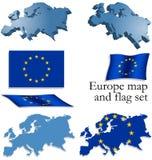 Europa-Karte und Markierungsfahnenset Lizenzfreies Stockfoto