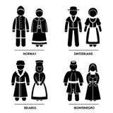Europa kläddräkt Arkivfoto