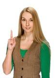 europa Kobieta podnosi jej palec z pomysłem Zdjęcie Stock
