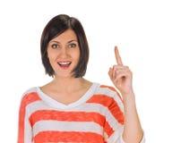 europa Kobieta podnosi jej palec z pomysłem Fotografia Stock
