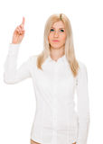 europa Kobieta podnosi jej palec z pomysłem Fotografia Royalty Free