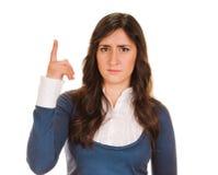 europa Kobieta podnosi jej palec z pomysłem Zdjęcia Stock