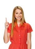 europa Kobieta podnosi jej palec z pomysłem Zdjęcia Royalty Free