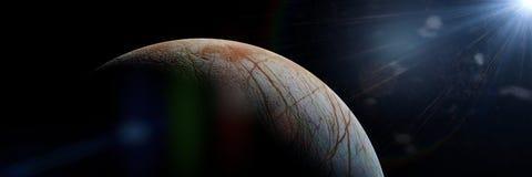 Europa, księżyc planeta Jupiter i słońce, zdjęcie stock