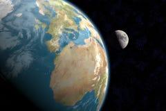 Europa, l'Africa e luna con le stelle Immagini Stock