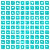 100 Europa-Landikonen stellten Schmutz blau ein Stockfotografie