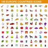 100 Europa landssymboler uppsättning, tecknad filmstil Arkivfoto