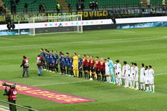 Europa League Inter vs Neftchi Baku 2-2. Europa League soccer match Inter vs Neftchi Baku 2 - 2. At the San Siro Meazza Stadium in Milano on Dec 6, 2012. Teams Stock Photos