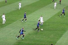 Europa League Inter vs Neftchi Baku 2-2. Europa League soccer match Inter vs Neftchi Baku 2 - 2. At the San Siro Meazza Stadium in Milano on Dec 6, 2012. Action Royalty Free Stock Images