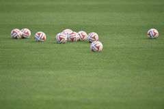 Europa League official balls. Pictured before the game between Rio Ave Futebol Clube (Portugal) and Steaua Bucharest (Romania), Vila do Conde, Estadio do Rio Royalty Free Stock Photos