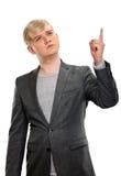 europa Mężczyzna podnosi jego palcowego z pomysłem Obraz Stock