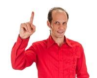 europa Mężczyzna podnosi jego palcowego z pomysłem Fotografia Royalty Free