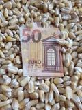 Europa, Mais, Zone, trockene Maiskörner und europäische Banknote von Euro fünfzig produzierend stockfoto
