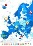 Europa - mappa, icone di navigazione - illustrazione Fotografie Stock