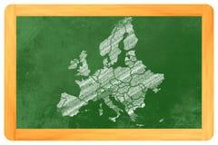 Europa med länder som dras på en svart tavla Arkivfoto