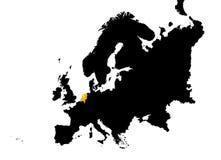 Europa met de kaart van Nederland Royalty-vrije Stock Afbeeldingen