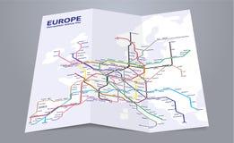 Europa metra mapa Fotografia Stock