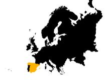 Europa mit markierter Spanien-Karte Lizenzfreies Stockbild