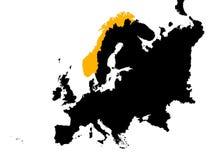 Europa mit Norwegen-Karte Stockfotografie