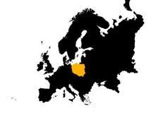 Europa mit Polen-Karte Stockbild