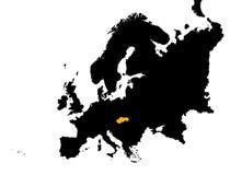 Europa mit Slowakei-Karte Stockfoto