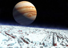 Europa moon jupiter. The surface of the Jupiter moon Europa in 3d. Realistic artist impression Stock Images