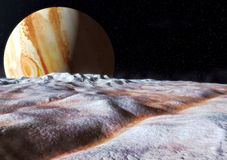 Europa moon jupiter. The surface of the Jupiter moon Europa in 3d. Realistic artist impression Royalty Free Stock Image